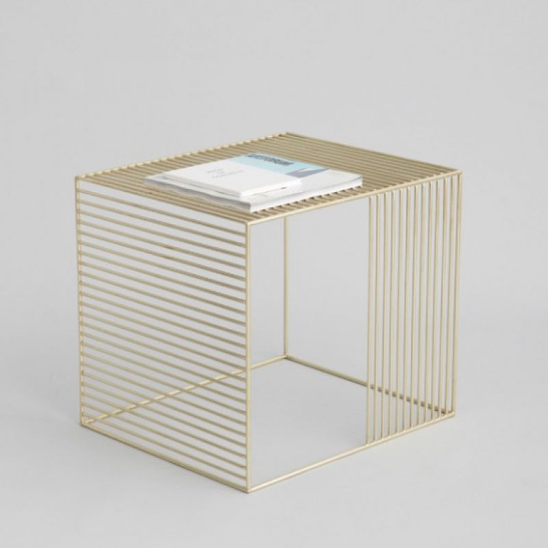 Wire Side Table, Plated